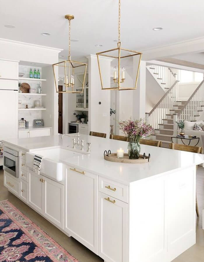 White countertop with built-in sink